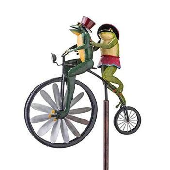 Sculptures De Vent De Bicyclette Vintage en Métal Spinner, Moulin À Vent De Grenouilles, Girouette De Jardin Exterieur Chat, Cour Décor Moulin À Vent Pelouse, pour La Décoration De Jardin Extérieur