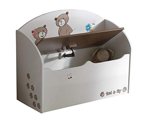 habeig Spielzeugtruhe beige/Chocolate Truhe Spielkiste Kinderbank für Kinderzimmer
