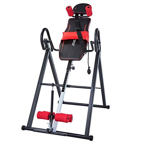 Z ZELUS Table d'Inversion pour Musculation Entraînement, Planche d'Inversion de Gravité, Machine Renversée pour Traiter s'Entraîner (Rouge)