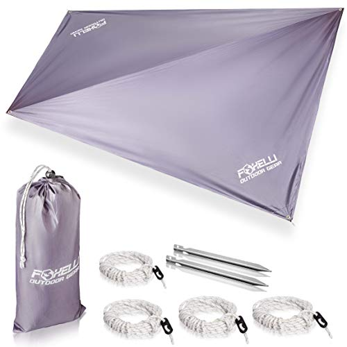 Foxelli Rain Tarp  Lightweight, Portable, Waterproof 12' Camping Tarp, Easy Set Up with Included Extra Long Guy Lines & Stakes - Perfect Rain Fly for Hammock