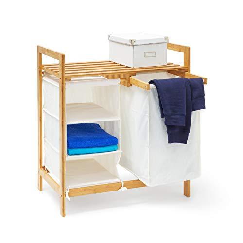 Relaxdays Wäschesammler Linea Bambus HxBxT: ca. 77 x 69,5 x 36 cm Wäschepuff mit 40 Litern Volumen 2 Ablagen und 3 Fächern als Wäschebehälter mit Wäschesack aus weißem Stoff und 2 Griffen, natur