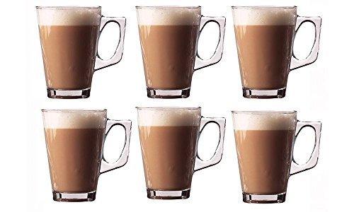 Invero®– Set di 6 tazzine per caffellatte, di prima qualità, tazzine da 240ml, trasparenti, perfette per tè, caffè, cioccolata calda, moca, cappuccino espresso e altre bevande calde