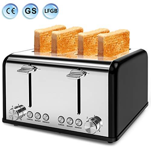 Tostapane, tostapane a 4 fette, 6 livelli regolabili, 3 funzioni, vassoio rimovibile, 1650 W, acciaio inossidabile -blu (nero)