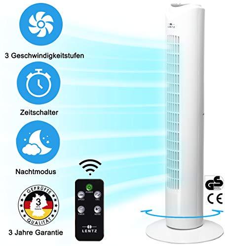 Turmventilator mit Fernbedienung und Oszillierend - Standventilator Mit Leisen Betrieb - Tower Fan - 81 cm - 45W - Ventilator mit 3 Geschwindigkeitsstufen - Timer - Mit 3 Jahren Garantie