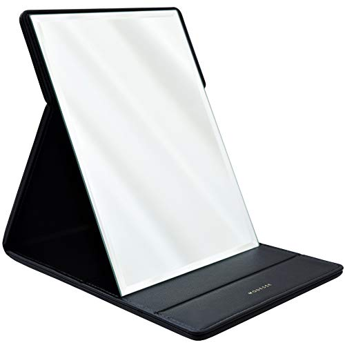 MODESSE Premium Portable Makeup Mirror (Black)   Perfect for Travel, Home Vanity, Office Desk   Large Size, Folding Design with Stand for Tabletop, Vegan Leather   Beauty Gifts for Bridesmaids