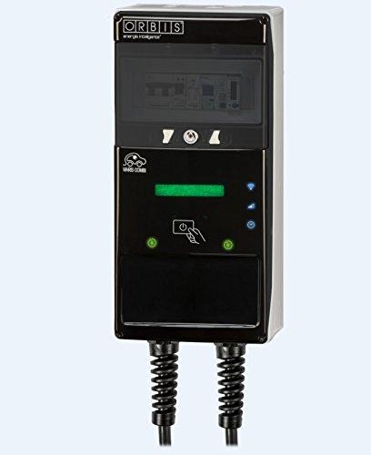Orbis VIARIS COMBI Estación doble para recarga de coche eléctrico, dos mangueras: Tipo 1 y tipo 2, 7.4kW 32A