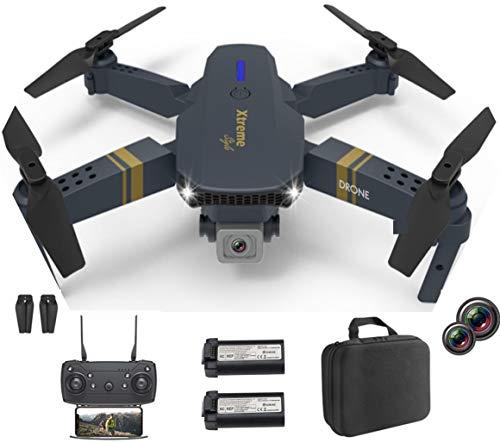 XTREME STYLE FPV Mini Drone con doppia fotocamera 4K UHD 50x D-zoom 2 batterie per 30 minuti di volo, quadricottero RC pieghevole ed elegante per bambini e principianti. Molte modalit di volo