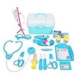 Fikujap Children's Play House Doctor Toy Traje Simulación Medicina Caja Inyecciones para niños y niñas Big Dentist Baby,Azul