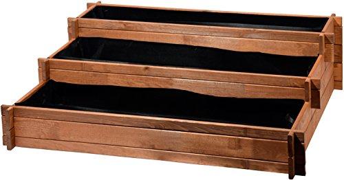 Bancal de Tres Pisos - Perú de Madera (Pino): Mesa bancal montable para Verduras, Hierbas, Flores, Flexible en su colocación, marrón, 110x 88x 36cm, 58180FSC
