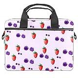 Bolso bandolera para portátil de 14,5 pulgadas, color arándano, fresa, bolso de hombro, bolso de mano, para mujeres y hombres