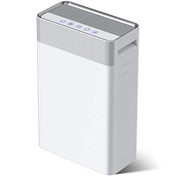 Purificador de Aire 5 en 1,con pre-filtro,Filtro HEPA y Carbón Activado,Generador de Iones,Catalizador Frío y Temporizador Captura alérgenos,olores,sustancias contaminantes(CADR 230m³/h,28 dB,45 m²)