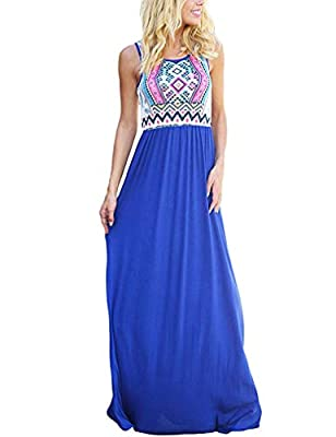 ♥The Boho Dress Features - Casual Scoop Neck Sleeveless Tank Top,Patchwork Floral Print,Striped,Zig Zag,Chevron Pattern,Elastic in the waist to make a comfortable fit,Contrast Solid top,Slim Fitted,Pleated bottom,roomy for your tummy/hips,high waist ...