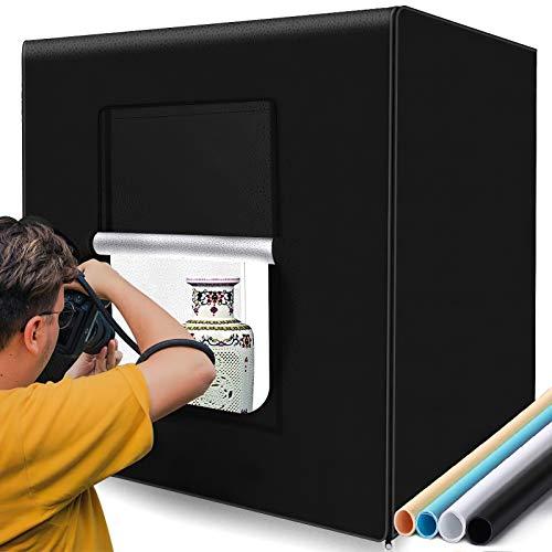 【進化版】撮影キット SAMTIAN 80x80x80cm 超大型撮影ボックス 4色背景シート(黒、白、オレンジ、青) ス...