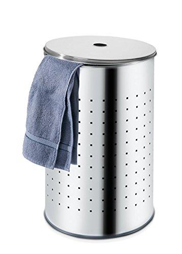 Wäschetonne Wäschesammler Wäschekorb | Edelstahl glänzend | ca. 54 Liter | 57 cm hoch