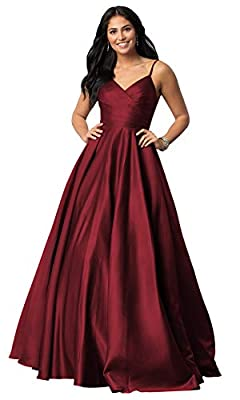 Dress Features: Spaghetti Straps, Satin Fabric, Long/Floor Length, A Line Silhouette, Ruched Bodice, Lace up Back , Sleeveless, Built-In Bra ABOUT SIZE: Please Do Refer To Our Attached Size Chart Image Perfect Choice As Your Bridesmaid Dresses, Homec...