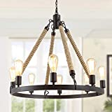 GEPOW Farmhouse Rope Chandelier, Round Wagon Wheel Light Fixture for Dining Room, Living Room, Bedroom, Kitchen Island and Foyer
