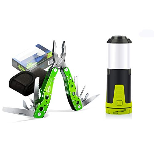 Jakemy Multitool Knife, Portable Folding Pocket Knife 15 in 1 with Pliers, Screwdriver, Cutter, Multi Purpose Stainless Steel Survival Tool for Camping, Fishing, Hiking (Multitool Lantern)