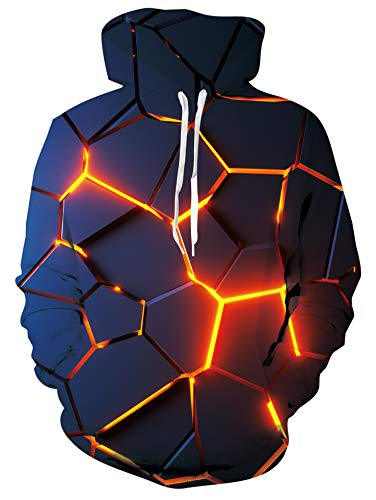 Freshhoodies Unisex Lava Felpa con Cappuccio Nero 3D Stampa Primavera Pullover Uomo Hoodie con Tasche L