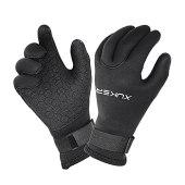 NeopSkin Water Gloves, 3mm & 5mm Neoprene Five Finger Warm Wetsuit Winter Gloves for Scuba Diving Snorkeling Paddling Surfing Kayaking Canoeing Spearfishing Skiing (5mm-Black, XL)