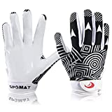 SPOMAT Youth Football Gloves Kids Silicone Grip Receiver Gloves with Super Stick Ability for Best Game Experience, Rocket Black M/L