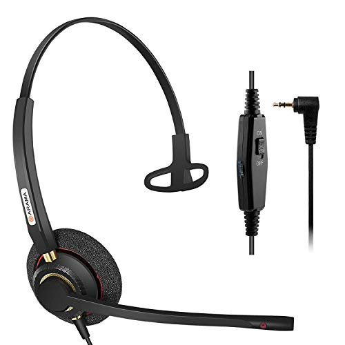 Telephone Headset with Noise Cancelling Microphone, 2.5mm Phone Headset for Cordless Phones Panasonic AT&T Vtech RCA Uniden Cisco SPA Grandstream Polycom Clarity XLC3.4 Office IP (A800CP)