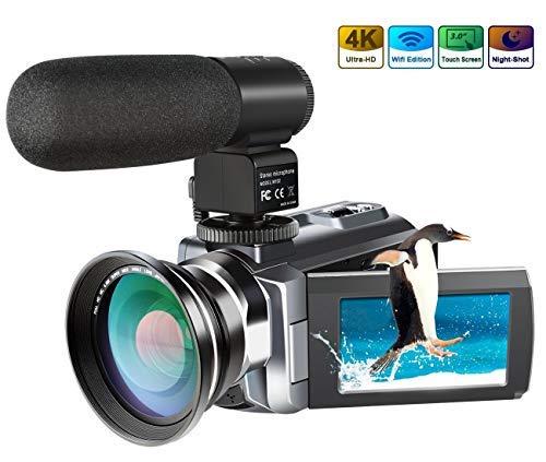 4K Camcorder,Ansteker 48MP 30FPS Ultra HD WiFi Video Camera IR Night Vision Digital Camcorder...