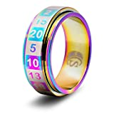 CritSuccess d20 Dice Ring with 20 Sided Die Spinner (Size 10 - Stainless Steel - Rainbow)