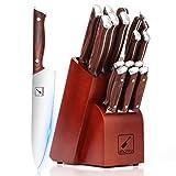 Japanese Knife Set, imarku 16-Piece Professional Kitchen Knife Set with Block, Chef Knife Set with Knife Rod, German High Carbon Steel Kitchen Knives Set