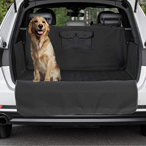 LEO Protect Kofferraumschutz-Matte für Hund, universell für alle Fahrzeuge (SUV, Kombi etc) Kofferraumschutz-Decke mit Ladekanten- und Seitenschutz, Taschen - Maße 183 x 103 x 34 cm, schwarz