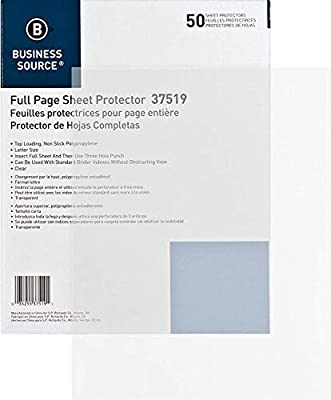 Box of 50 sheet protectors Use these top loading three-hole punched sheet protectors to protect your letter size insert pages Sheet protectors are made of durable 3.15 mil thick nonglare nonstick polypropylene that won't lift print Each sheet protect...