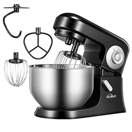 Kealive Küchenmaschine, KEALIVE 10-Gang Multifunktions-Knetmaschine mit 5L Edelstahlbehälter, 360 ° Spritzschutz, Knethaken, Drahtpeitsche, Flat Beater, Anti-Rutsch-Design