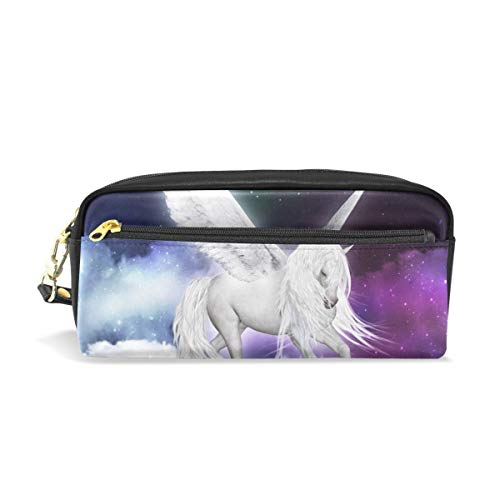 Unicorno Pegasus nell'universo Portamatite in pelle PU portatile Astucci per penne Astuccio per...