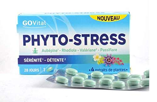 Govital Phyto-Stress 4 Pflanzenextrakte, Weißdorn, Rosenwurz, Baldrian, Passionsblume, 2 Packungen mit je 28 Tabletten (2)