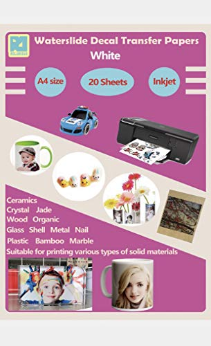 20 Sheets A4 Inkjet Water Slide Decal Paper Sheets White DIY