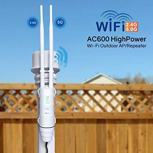 Upgrade Version AC600 Outdoor Weatherproof WiFi Access Point POE, WAVLINK High Power Long Range Dual Band 2.4+5G 600Mbps Wireless Router/AP/Wi-Fi Range Extender Internet Signal Booster Amplifier