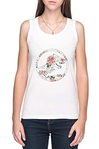 Vendax giurassico Floreale Canotta T-Shirt Donna Bianca