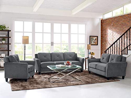 Lifestyle Solutions Collection Grayson Micro-fabric Sofa, Dark Gray