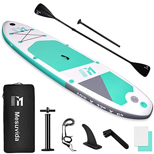 Mesuvida Stand Up Surf Paddle Board Gonflable Matériau PVC sans 6P Respectueux de l'environnement, Planche de Sup avec Double Pagaie, Connexion Go Pro et Accessoires, Jusqu'à 160kg, 320x81x15CM