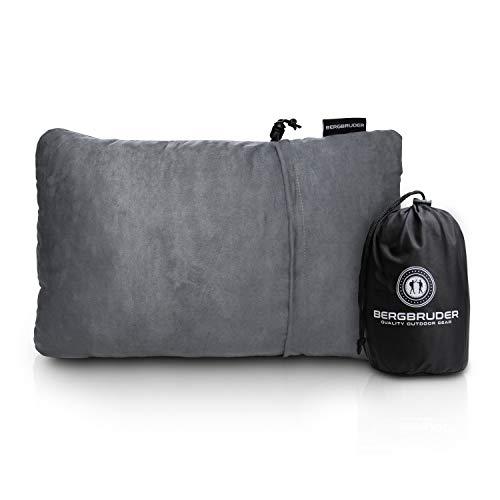 BERGBRUDER Komprimierbares Reisekissen - Nackenkissen aus zerkleinertem Memory Schaum - Outdoor Camping-Kissen weich, Ultraleicht & kompakt