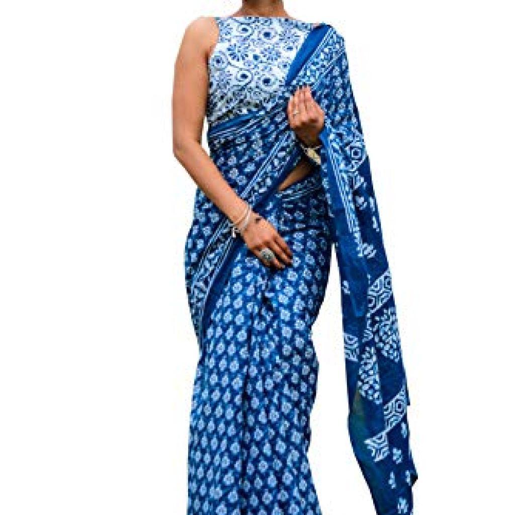 Geeta Handicrafts Women's Ikat Hand Block Print Jaipuri Cotton Mulmul Saree with Blouse Piece – Blue