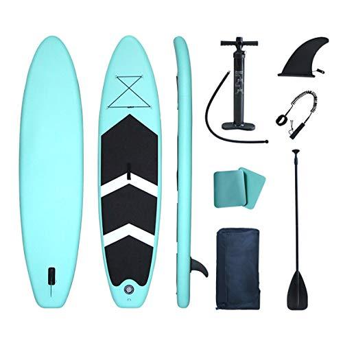 lucear Sup Stand Up Paddle Board Gonflable 320 x 76 x 15 cm Accessoires complets Pagaie réglable, Pompe, siège Kayak, Sac à Dos de Voyage, Laisse, Sac étanche (Green 320X76X15cm)