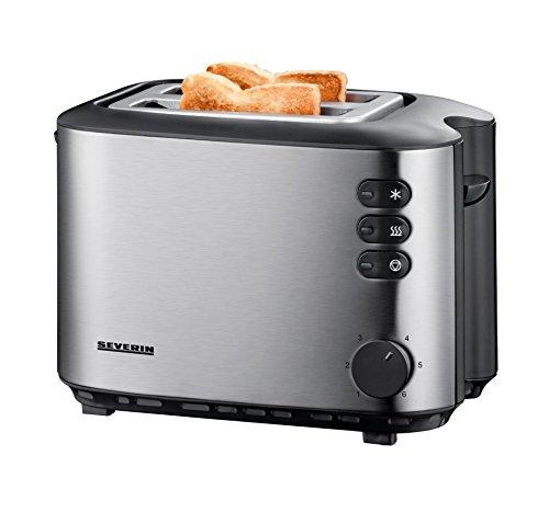 SEVERIN Automatik-Toaster, Inkl. Brötchen-Röstaufsatz, 2 Röstkammern, 850 W, AT 2514, Edelstahl/Schwarz