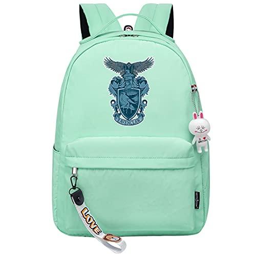 MMZ Mochila para niñas para la escuela de Ravenclaw, mochila ligera para niños, estuche para lápices para la escuela secundaria media, estampado retro (verde)