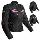 Women's Motorcycle Jacket For Women Stunt Adventure Waterproof Rain Jackets CE Armored Stella (Pink, XL)