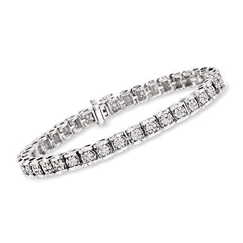"""41tpah5Fb1L Sterling silver diamond bracelet for women. 2.00 ct. t.w. diamond. 1/4"""" wide. 7"""" long. Box clasp blends seamlessly into the design. Round diamond. Polished sterling silver. Includes jewelry presentation box & 30-day 100% money-back guarantee. DIAMOND & STERLING SILVER BRACELET: This elegant bracelet for women is a gorgeous addition to any woman's jewelry box. Lovely worn alone or paired with complementary bangles or chain bracelets, this is a truly versatile bracelet. ROSS-SIMONS QUALITY: Treat yourself to the luxury & beauty of Ross-Simons fine jewelry. Whether in 14kt gold, 18kt gold, or gorgeous sterling silver, our finely crafted jewelry is an unforgettable, unique gift for women."""