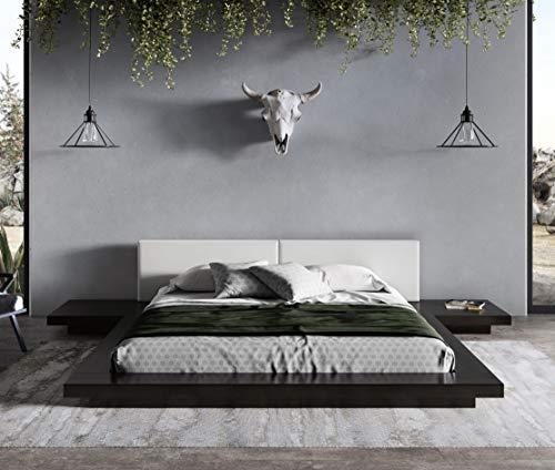 Limari Home Albina Collection Modern Style Bedroom Wenge Veneer Finished Leatherette Upholstered Platform Low Profile Bed, Queen, Black, White