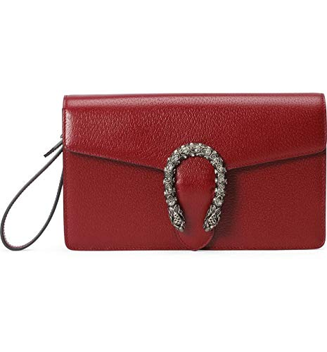 """41tqwZGRmIL GUCCI Dionysus Red Small handbag Leather Bag Italy NEW wristlet only 1 in stock Leather in Red Style 6891 Palladium-tone hardware Tiger head with crystals Cotton linen lining Interior open pocket Detachable wrist strap Magnetic snap closure 10.2""""W x 5.9""""H x 1.4""""D Made in Italy New w tags Controllo Card Dustbag"""