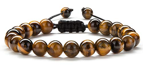 Hamoery Men Women 8mm Tiger Eye Stone Beads Bracelet Braided...