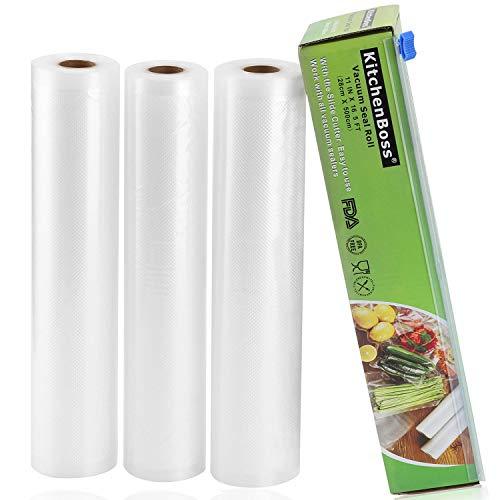 KitchenBoss Sacchetti Sottovuoto per Alimenti,3 Rotoli 28x500cm Totale15M, (Non pi forbici) Rotoli Sacchetti goffrati,per Conservazione Alimenti e Cottura Sous Vide