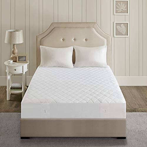 Beautyrest - Cotton Blend Heated Mattress Pad Twin XL Size  Secure Comfort Technology  Luxury Quilted Electric Mattress Pad with Deep Pocket - White - 5-Setting Heat Controller - 5 Years Warranty